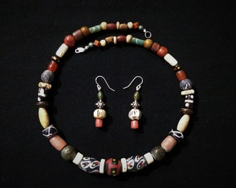 African Trade Bead Necklace With Earrings.