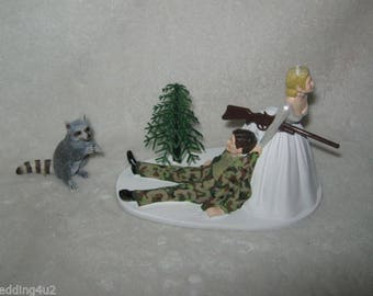 Wedding Reception Party Racoon Coon Camo Hunter Hunting Cake Topper