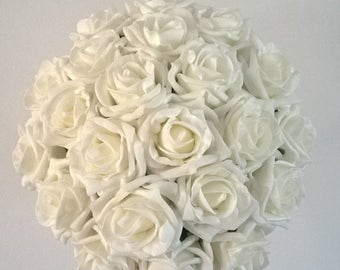 Bridal Bouquet - Ivory Rose - Artificial Foam Roses - Wedding Flowers.