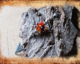 Pendant in carnelian and Garnet, color orange, red and silver _ Rokkur ethnic