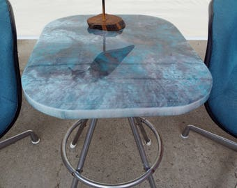 Elegant MCM Turquoise Marble Top Retro Tea Side Table