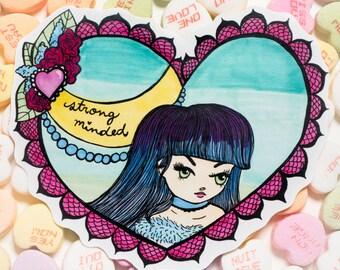 Strong minded valentine sticker