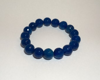 Semi precious stones bracelet, faceted navy blue agate (12 mm)