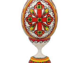 """3.75"""" Cross Ukrainian Wooden Easter Egg- SKU # wpv-28"""