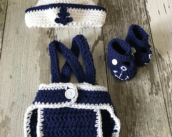 Crochet newborn sailor photo prop