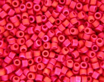 Miyuki Delica Seed Beads, Matte Opaque Red Luster DB362, (5gr or 10gr), Size 11/0, DB0362, DIY Jewelry, Bead Supply