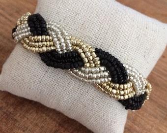 Black beaded bracelet, braided cuff bracelet, silver cuff bracelet, gold bracelet, silver bracelet, black gold silver, gold cuff bracelet,