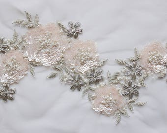 Hand-made motif with pale pink sequin flowers and silver wire embroidery