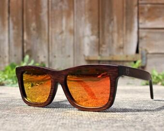 PaulVen Fox Black Bamboo wooden wayfarer sunglasses. Polarised Mirrored orange lenses Wood sunglasses, men women sunglasses FREE EU shipping