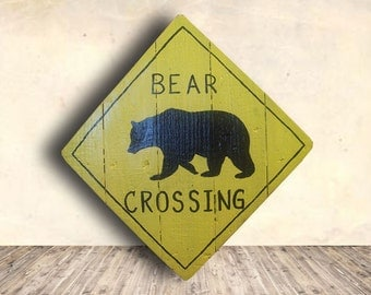 Bear Art - Animal Crossing - Warning Sign - Animal Crossing Sign - Bear Sign - Bear - Bear Crossing Sign - Birthday Gift - Mother's Day Gift
