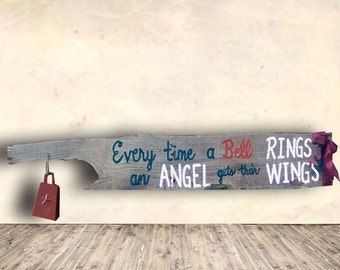 Christmas Sign - Every Time a Bell Rings an Angel Gets their Wings Sign - Christmas Home Decor - Hand Painted - Rustic - Pallet Wood Sign