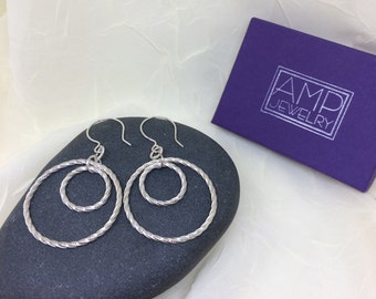 Twisted Double Circle Patterned Sterling Silver Heavy Wire Handmade Dangle Earrings