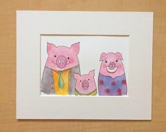 Original Watercolor- Farm Family Portrait