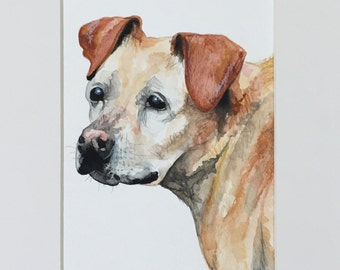 Watercolor custom dog pet portrait