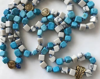 Mala Necklace- Magnesite & Howlite