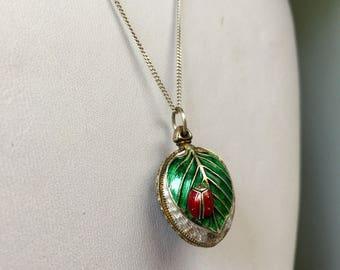 Antique sterling silver, enamel & paste Russian egg pendant necklace, OOAK, Gift, Statement, Keepsake, Heirloom, Jewelry, Jewellery, Nature