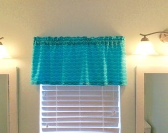 Window Topper/Valance-Sealife Decor-Mermaid Decor-Aqua Curtains-Coastal Decor-Beach Decor-Lake Decor-Tropical Decor-Nautical Decor-Ocean
