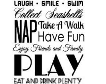 SVG beach rules cut file - beach quote, beach rules print - beach family, beach house, ...