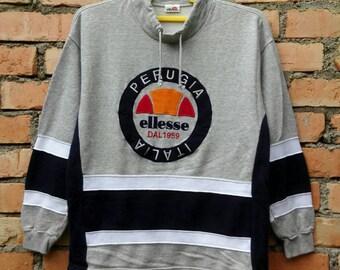 Rare!!! Ellesse Perugia Italia Casual Tennis Big Logo 90s Sweatshirt Medium Size