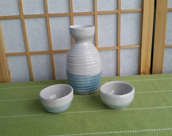 White and blue tokkuri set, Japanese style sake bottle and two cups