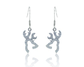 925 Sterling Silver - Reindeer Dangle Earrings (S432)