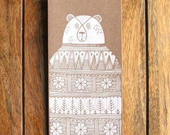 Fairisle Bear Christmas Gard - Greetings Card - Screen Print