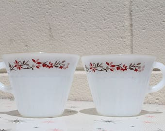 Pair of Vintage Termocrisa Mexican Milk Glass Coffee Tea Cups