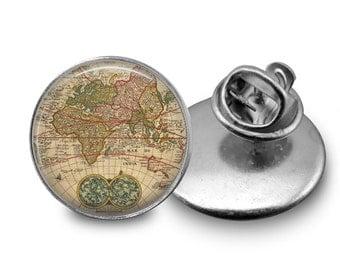 Vintage World Map Tie Tack