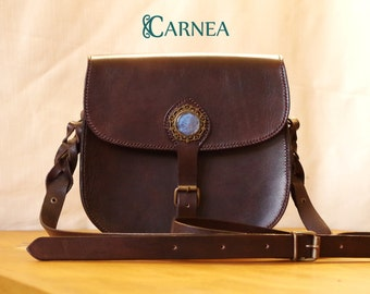 Leather bag Brown - Bag Handbag / satchel - Cabochon glass and blue resin