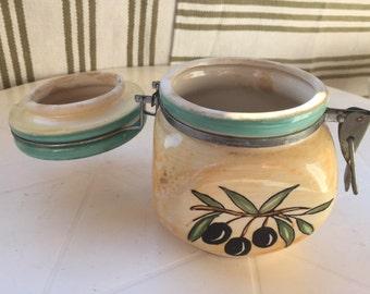 Olive oil Jar, Vintage  Pottery of Provence, France, Handmade, Hand decorated south of France olive jar, Kitchen Decoration