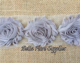 Gray Shabby Chiffon Rose Trim- 2.5 inch- Light Gray Shabby- Shabby Chiffon Flowers- Wholesale Shabby Flowers