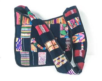 Navy fabric ethnic shoulder bag - Ethnic tote bag - Multi colored fabric tote bag - Boho fabric cross body bag - Woven fabric handbag