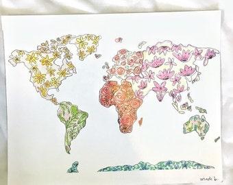 Floral world print (8x10)