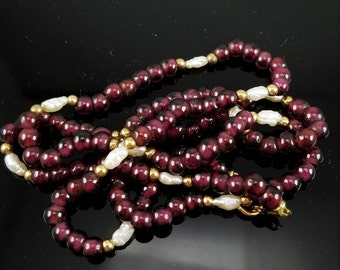 Purple Quartz, 14K Yellow Gold and Cultured Freshwater Rice Pearl Beaded Necklace
