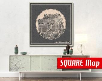 SAN FRANCISCO ca SQUARE Map San Francisco California Poster City Map San Francisco Art Print San Francisco poster San Francisco map