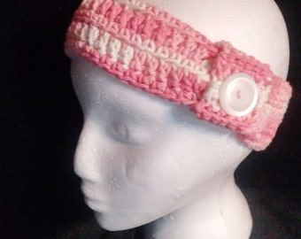Pink multi Earwarmer with Button