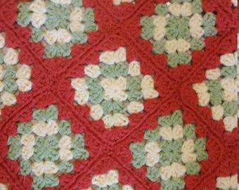 Vintage Orange Granny Square Afghan Lap Blanket Throw Coverlet Handmade Knitted Crochet Yellow Green Scalloped Edge