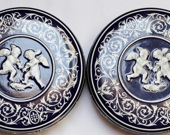 Blue Storage tins, General Biscuits,  Blue & White, set of 2,  classical cameo,  raised decorations, Cherubs