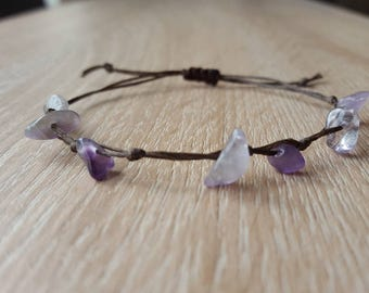 Amethyst gemstone chip Bracelet Amethyst gemstone chip