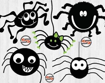 Cute Silly Spider SVG Bundle, Halloween SVG, Black Spiders SVG, Cricut, Cut Files, dxf file, png, Clip Art, Instant Download, Transparent