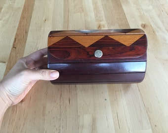 Vintage wooden stained chevron clutch purse
