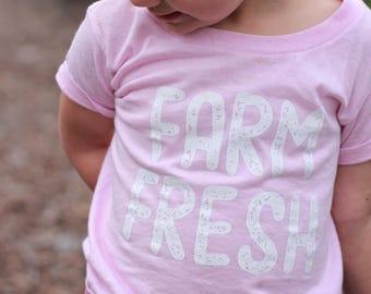 Farm Fresh Kids Toddler Girls Boys Farming Baby Screen Print T-Shirt Top Pink