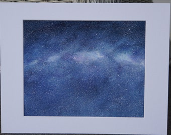 ORIGINAL watercolor made to order THE COSMOS, Universe, the night sky, stars