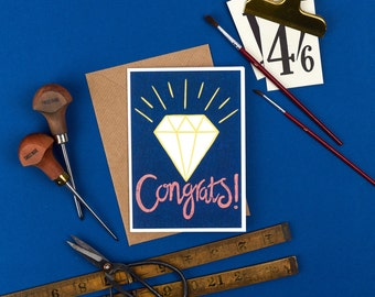 Congratulations Card / Engagement Card / Newly Engaged / Nearly Married - Congrats! Card