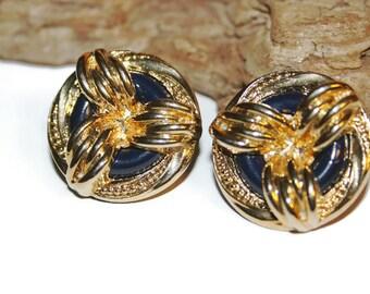 Nautical Earrings, Nautical Jewelry, Chunky Acrylic Jewelry, Navy Blue and Gold Earrings, 1980s Jewelry, 1980s Earrings, Lightweight Earring