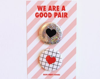 Valentine Heart Pin Set - Good Pair