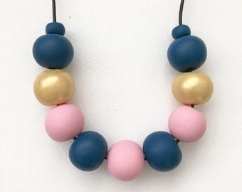Blue, pink and gold polymerclay bead necklace, chunky statement bead necklace, metallic clay necklace, long navy polymer clay beads, gift