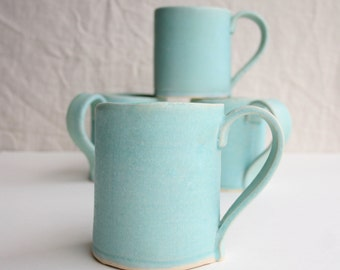 Handmade Stoneware Coffee Mug, Tea Mug, Cocoa Mug, Aqua, Handmade Dinnerware, Tableware