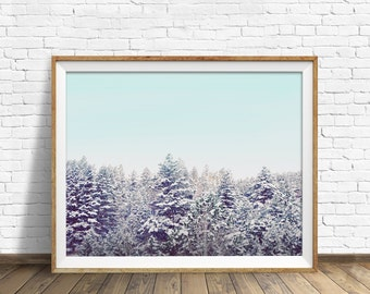 "landscape photography, instant download printable art, winter, forest, large art, large wall art, modern, contemporary  - ""Quiet Forest"""