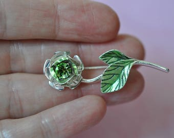 Vintage Green Avon SH Brooch, Silver Tone, August Birthstone, Rose Brooch, Avon Jewelry, Avon Brooch, Rose Pin, Vintage Avon, GS995
